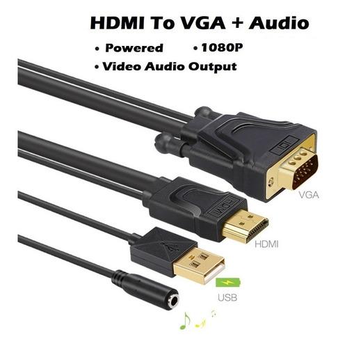 conversor cable hdmi in macho a vga out macho usb+3,5 titanb