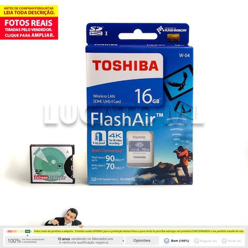 conversor cf 1 + sd wifi flashair 16gb w04 até 12x s/ juros