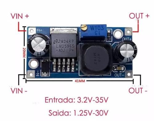 conversor dc-dc dc/dc step down lm2596s 3a arduino com nota