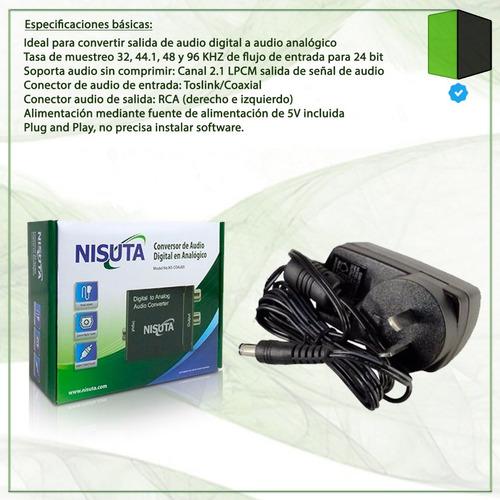 conversor de audio digital a analógico nisuta rca ns-coaudi