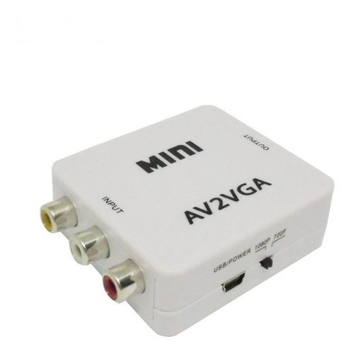 conversor de rca a/v a vga audio auxiliar monitor proyector