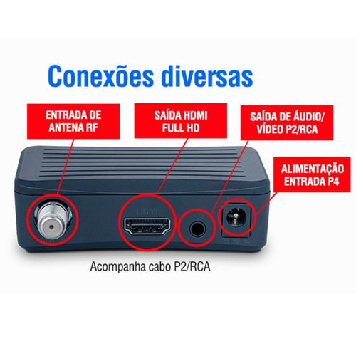 conversor digital tv aquario dtv-4000 4g hdmi rca gravador