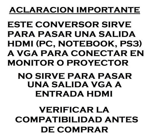 conversor hdmi a vga video noteboook monitor led lcd 1080p