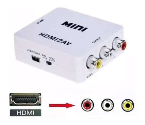conversor hdmi a video rca noteboook proyector tv tubo 1080p