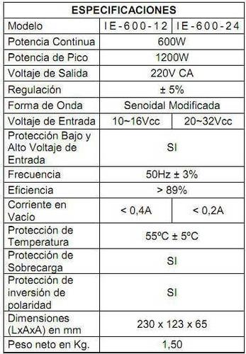 conversor inversor enertik 600w 24v a 220v con usb 2a