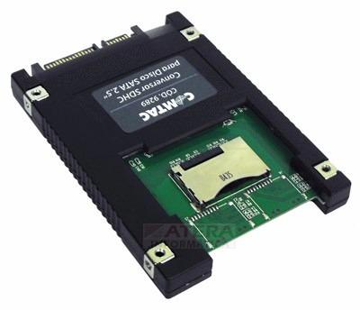 conversor micro 2x sdhc p/ disco sata 2.5 raid 0 comtac 9289