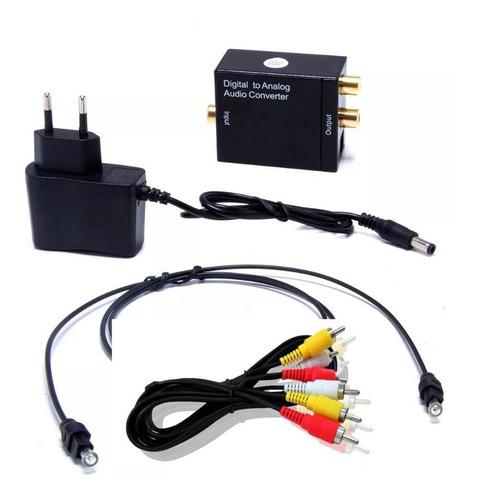 conversor óptico audio digital x analógico tv + cabo 3 rca m