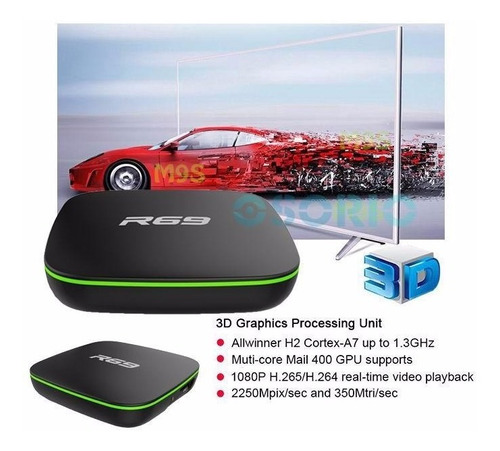 conversor smart tv box android r69 quad core 1giga & 8giga