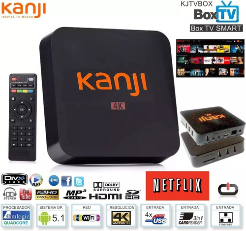 conversor smart tv box kanji 4k 8gb android 7.1 hdmi usb