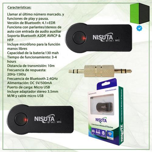 conversor stereo 3.5 a bluetooth nisuta ns-costbl microfono