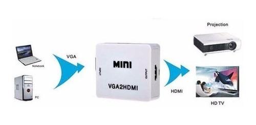 conversor vga a hdmi con audio conecta notebook a tv full hd