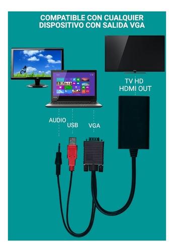 conversor vga a hdmi  con audio y usb adaptador hdmi macho