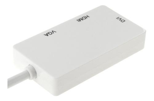 convertidor 3en1 thunderbolt mini displayport a hdmi vga dvi