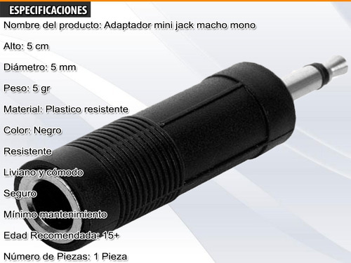 convertidor adaptador 1/4 hemb 3.5 mach pc mic video mono