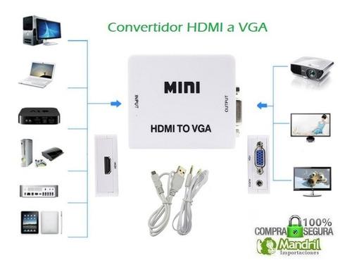 convertidor adaptador vga hdmi / hdmi vga / hdmi rca 1080p