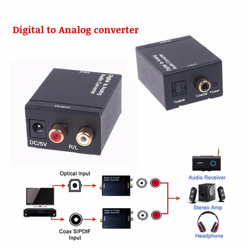convertidor audio digital coaxial toslink a rca análogo
