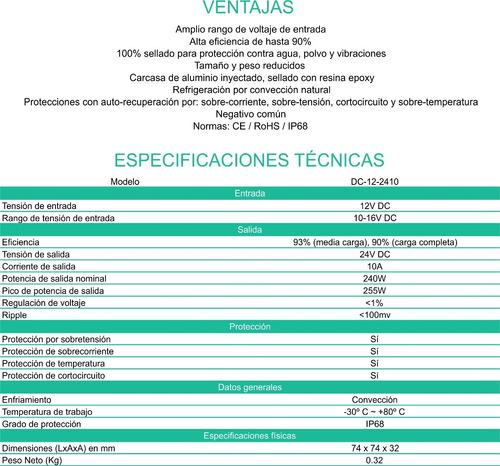 convertidor conversor 12v a 24v 10 ah. enertik
