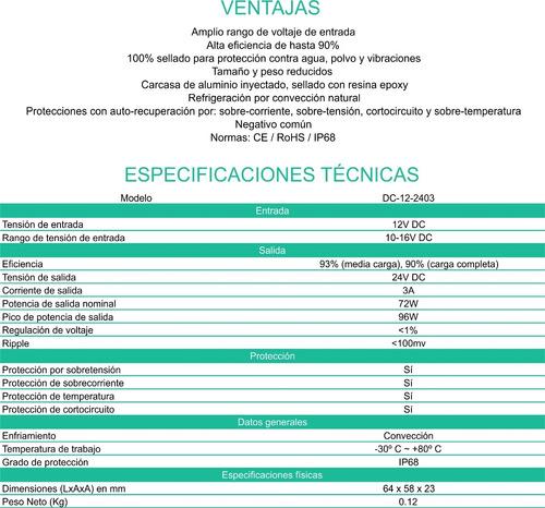convertidor conversor 12v a 24v 3 ah. enertik