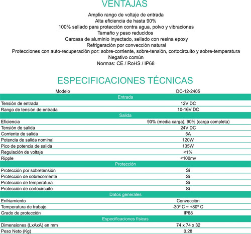 convertidor conversor 12v a 24v 5 ah. enertik
