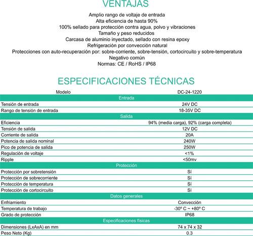 convertidor conversor 24v a 12v 20 ah. enertik