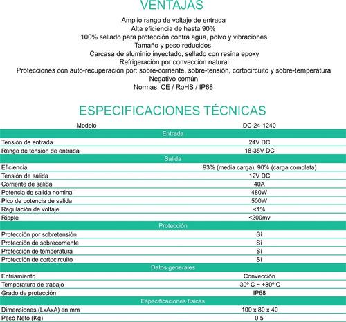convertidor conversor 24v a 12v 40 ah. enertik