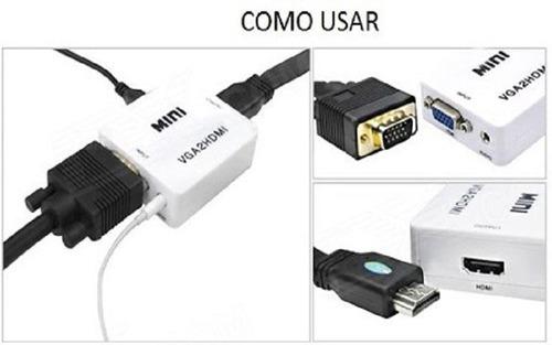 convertidor conversor adaptador vga a hdmi y auxiliar audio