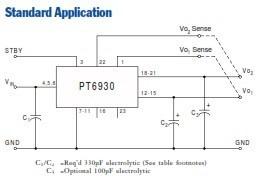convertidor dc-dc pt6931a dual 3.3v/2.5v 8a.conector sip-23