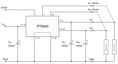 convertidor dc-dc pt6946a dual 2.5v/1.8v 6a.conector sip-27