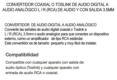 convertidor de audio digital toslink optico coaxial rca 3.5
