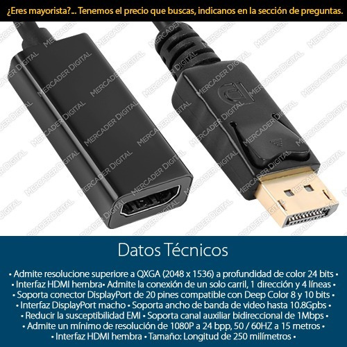 convertidor de display port a hdmi / adaptador dp 1080p