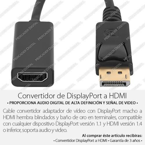 convertidor de display port a hdmi adaptador + envío gratis