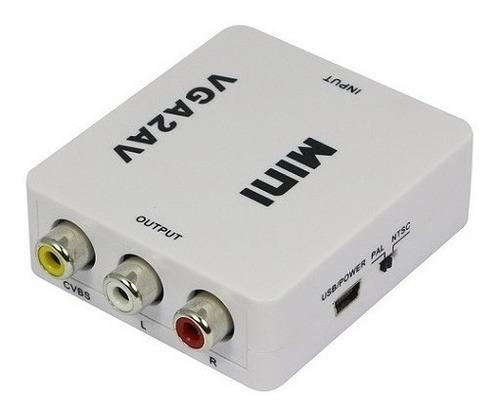 convertidor de señal vga a rca (audio y video) + cable audio