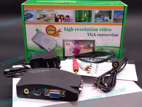 convertidor de video rca a vga s-video dvd rca a monitor tv