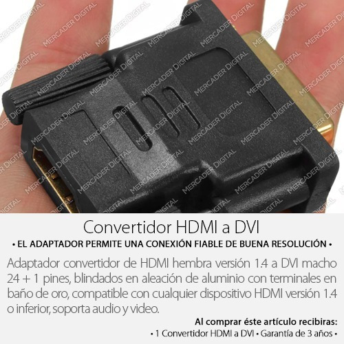 convertidor dvi-d macho a hdmi hembra adaptador de video hd