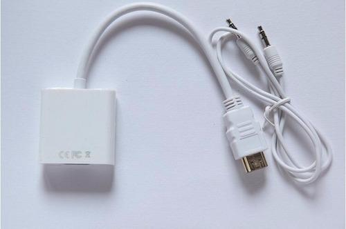convertidor hdmi a vga con audio pc laptop tv full hd