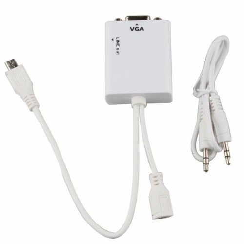 convertidor mhl micro usb a vga + adaptador de audio