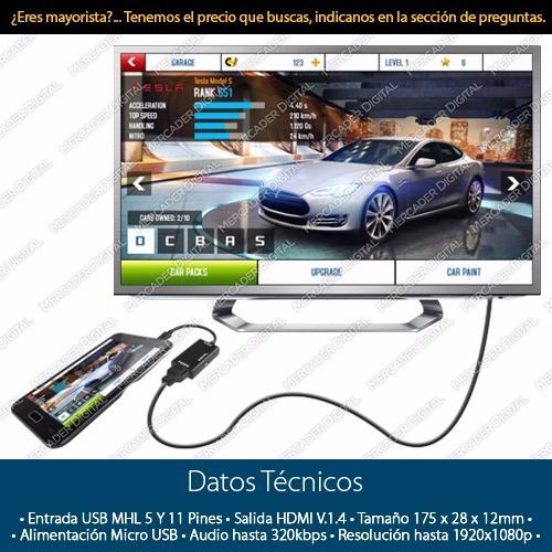 convertidor micro usb a hdmi cable adaptador mhl celular tv