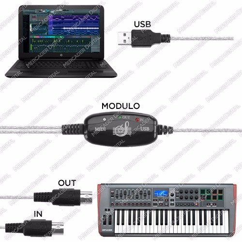 convertidor midi a usb adaptador teclado cable envío gratis