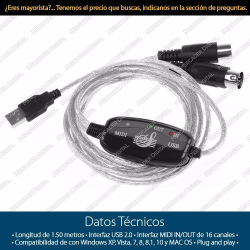 convertidor midi a usb adaptador teclado pc laptop cable