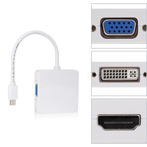 convertidor mini displayport thunderbolt a hdmi vga dvi