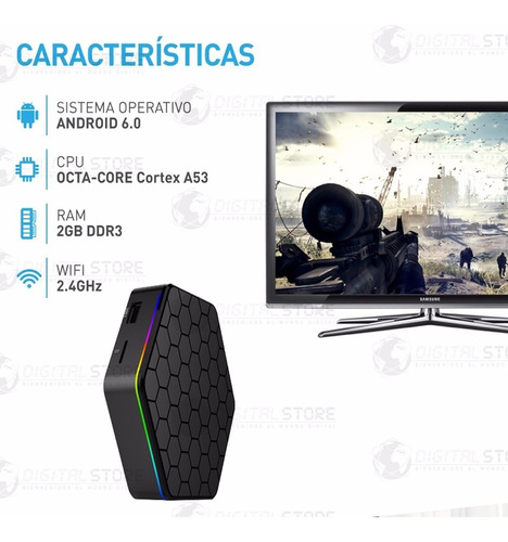 convertidor smart android tv box netflix youtube 2gb / 16gb