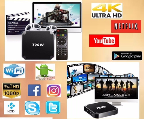 convertidor smart android tv box netflix youtube hd 4k wifi