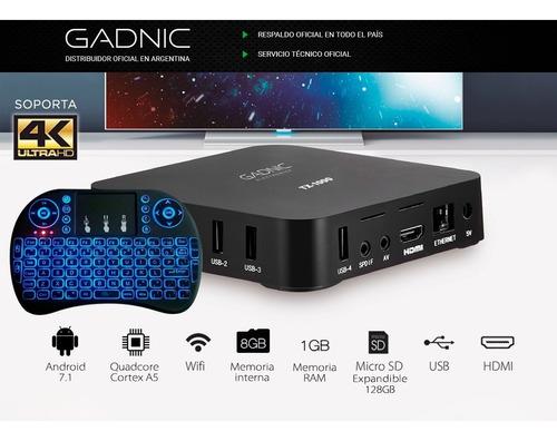convertidor smart tv box 4k ultra hd hdmi teclado gadnic