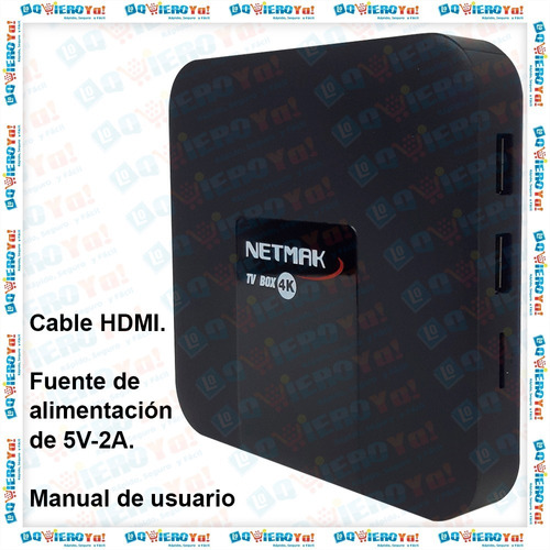convertidor smart tv box nemak 4k 16gb rom 2.4ghz android tv