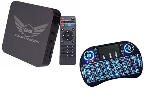 convertidor smart tv + mini teclado tv box android 7 8gb 4k