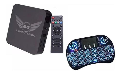 convertidor smart tv + mini teclado tv box android 8gb 4k