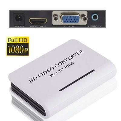 convertidor vga a hdmi con audio y alimentador de corriente