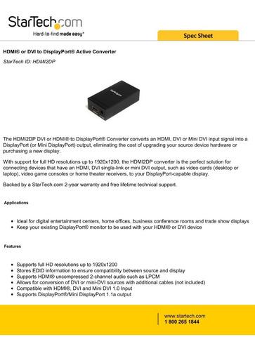 convertidor/adaptador hdmi a displayport startech