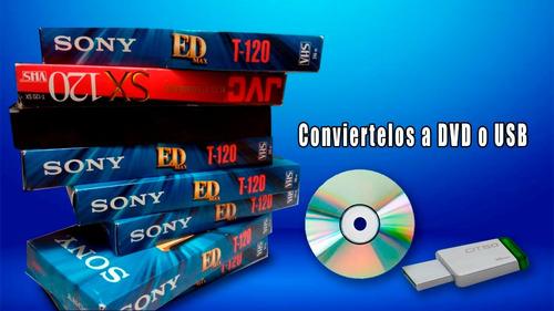 convierte  videos vhs, 8mm  8 digital a dvd o usb