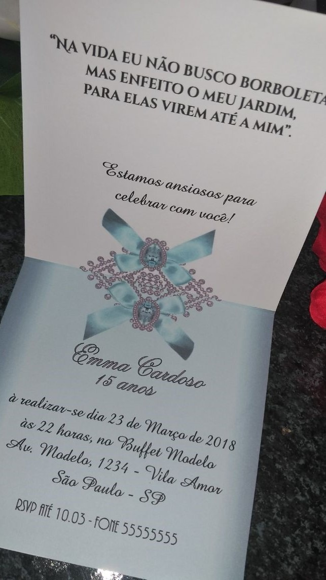 Convite 15 Anos Azul Tiffany 100uni Promoção R 14990 Em